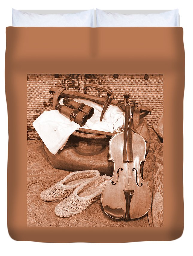 Violin Duvet Cover featuring the photograph Hobbies Ready For Travel by Barbara McDevitt