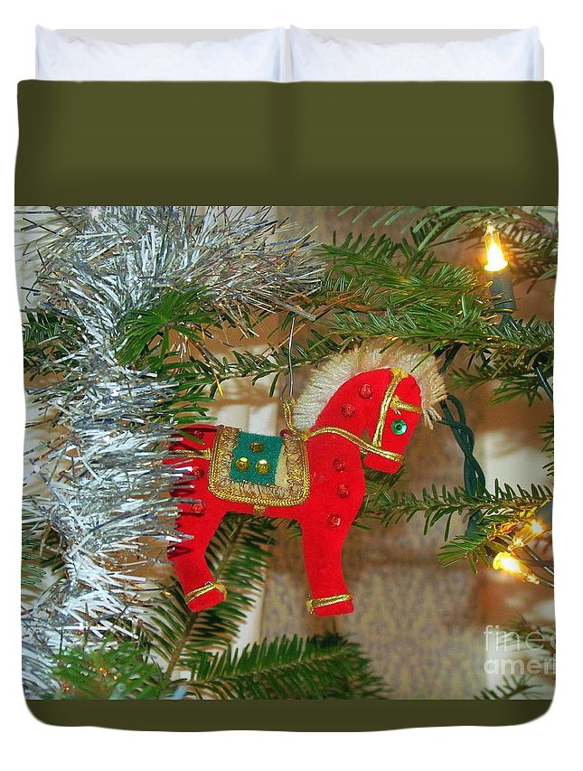 Christmas Tree Duvet Cover featuring the photograph Hobby Horse by Elizabeth Dow
