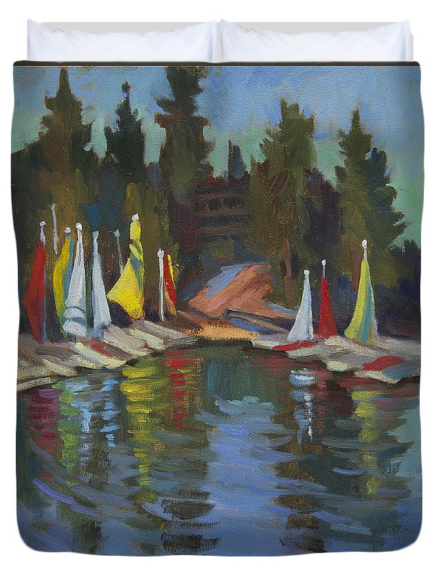 Hobie Cat Duvet Cover featuring the painting Hobie Cats At Lake Arrowhead by Diane McClary