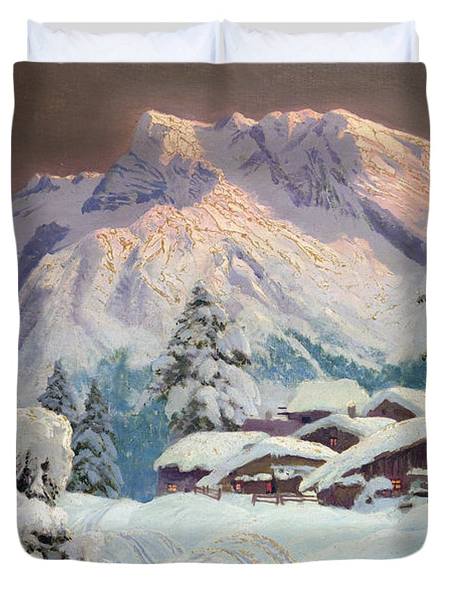 Austrian Duvet Cover featuring the painting Hocheisgruppe by Alwin Arnegger
