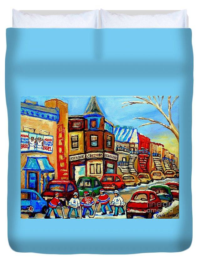 Boucherie Chez Vito Fairmount Street Scene Duvet Cover featuring the painting Hockey Art Montreal Winter Street Scene Painting Chez Vito Boucherie And Fairmount Bagel by Carole Spandau