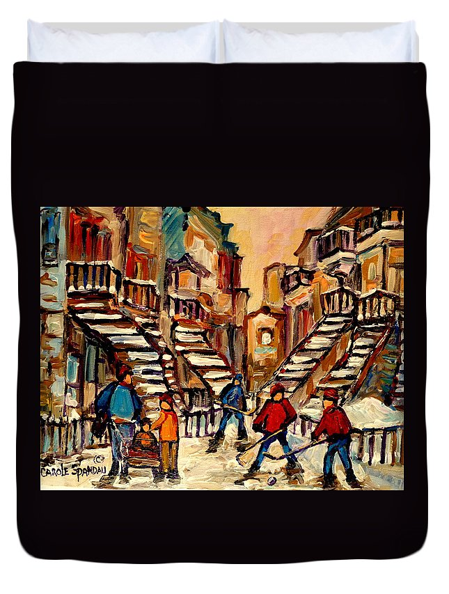 Montreal Duvet Cover featuring the painting Hockey Game Near Winding Staircases Montreal Streetscene by Carole Spandau