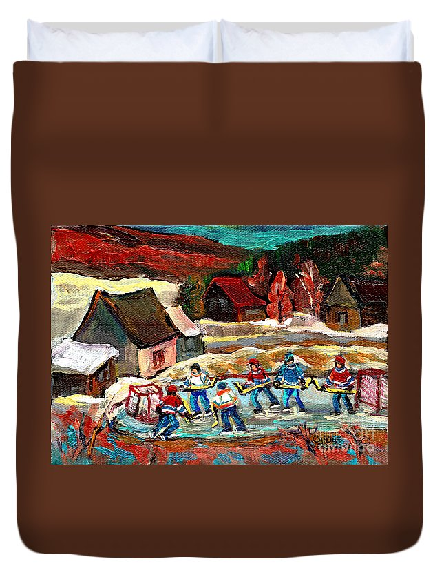Pond Hockey Duvet Cover featuring the painting Hockey Rinks In The Country by Carole Spandau