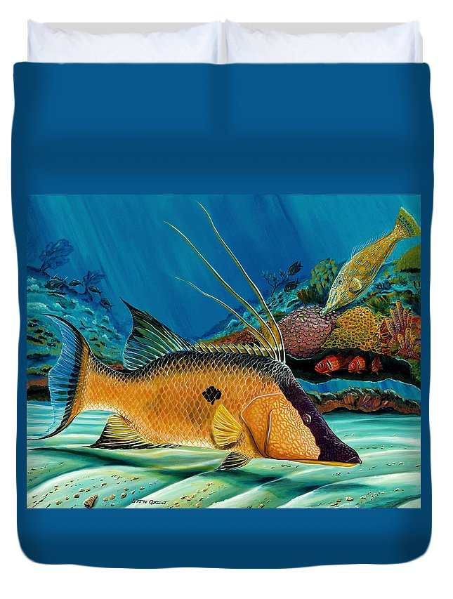 Hogfish Duvet Cover featuring the painting Hog And Filefish by Steve Ozment