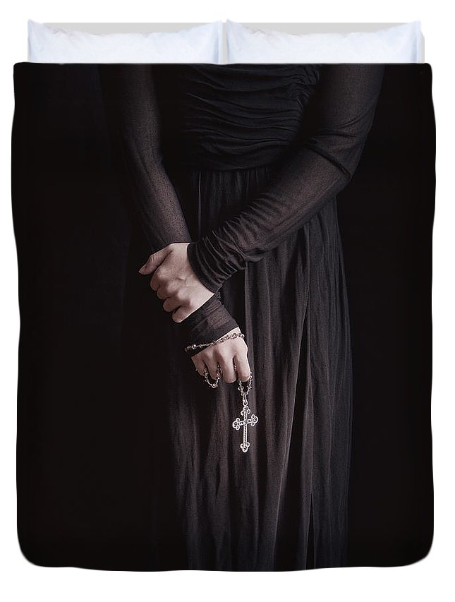 Caucasian; Black; Young Woman; Teen; Female; Dramatic; Foreboding; Horror; Spooky; Eerie; Scary; Creepy; Hand; Cross; Holding; Close Up; Shadow; Teenager; Gothic; Goth; Mysterious; Mystery; Dark; Darkness; Religious; Religious; Rosary; Christian; Catholic Duvet Cover featuring the photograph Holding Faith by Margie Hurwich