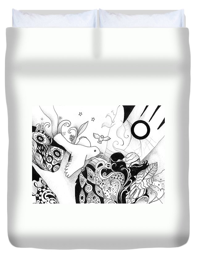 Figurative Duvet Cover featuring the drawing Holding It In Your Hands by Helena Tiainen