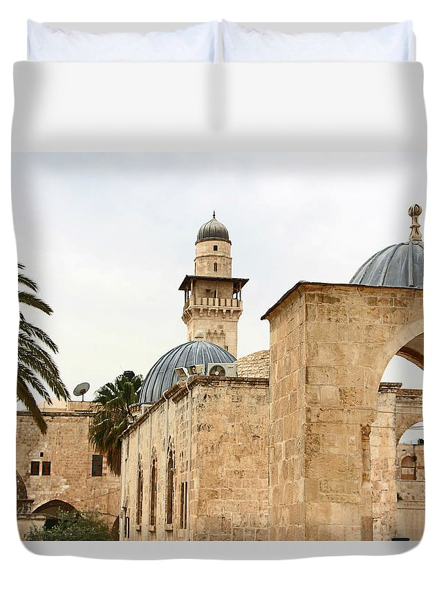 Jerusalem Duvet Cover featuring the photograph Holding Out by Munir Alawi