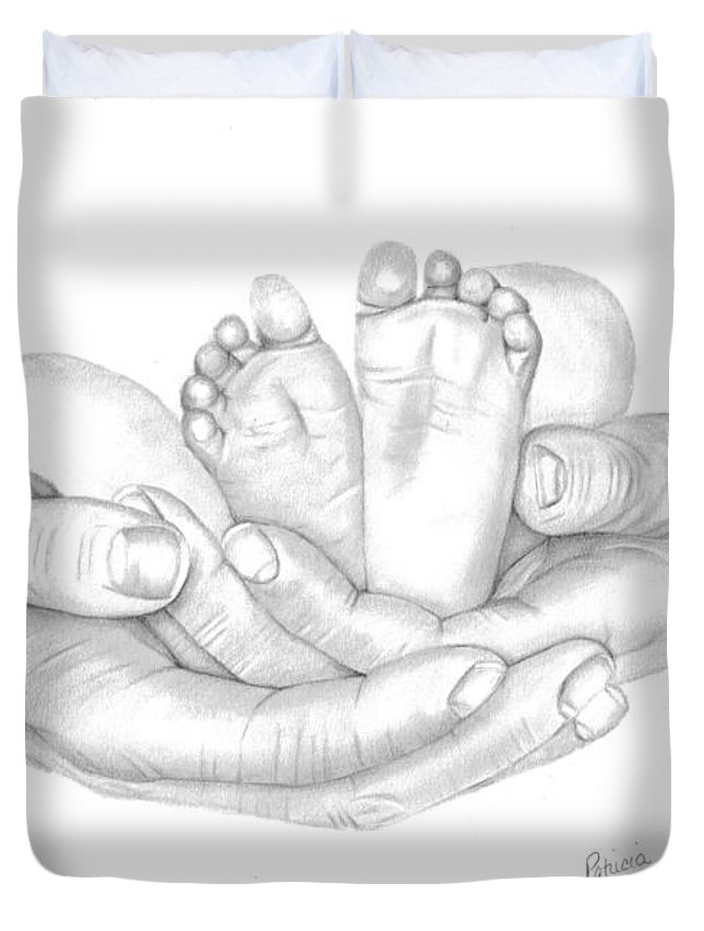 Baby's Feet Duvet Cover featuring the drawing Holding The Future by Patricia Hiltz