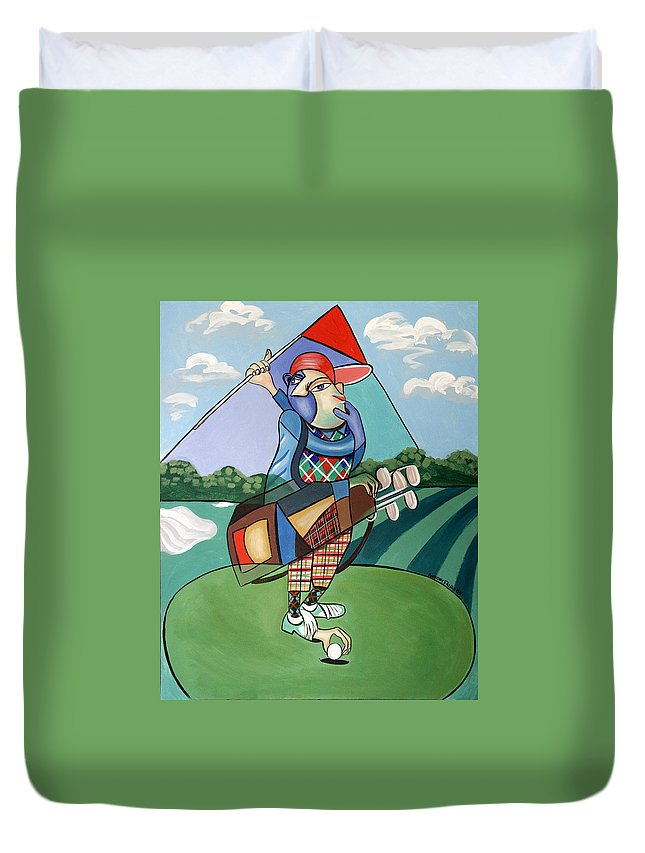 Hole In One Duvet Cover featuring the painting Hole In One by Anthony Falbo