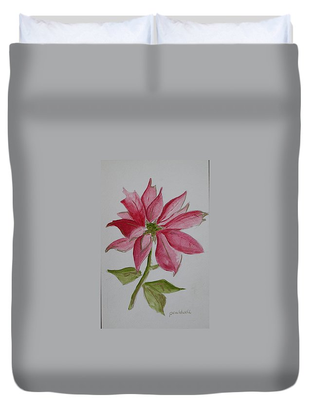 Flower Christmas Duvet Cover featuring the painting Holiday Flower by Patricia Caldwell