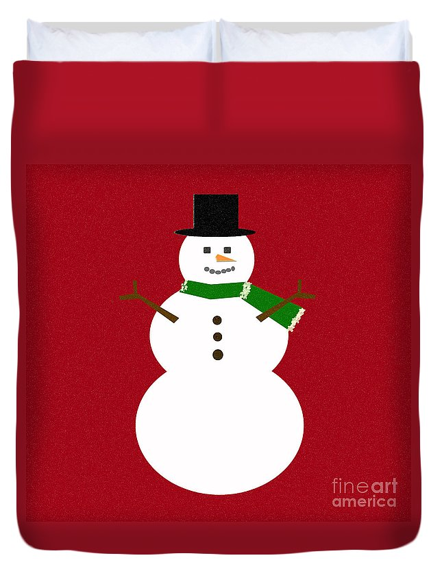 Christmas Duvet Cover featuring the digital art Holiday Hugs by Amanda Barcon