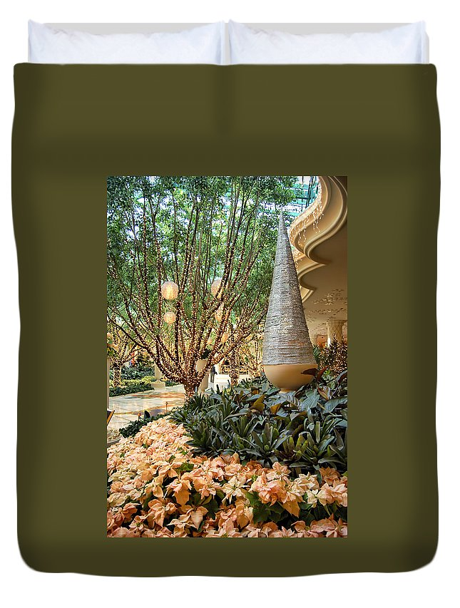 Las Vegas Duvet Cover featuring the photograph Holiday Lights - Wynn Hotel by Jon Berghoff