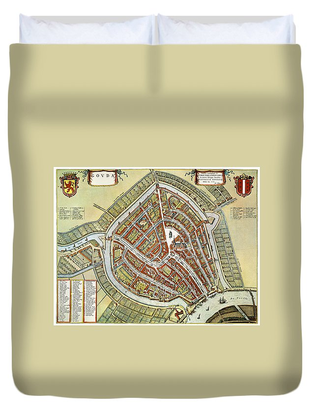 1649 Duvet Cover featuring the photograph Holland: Gouda Plan, 1649 by Granger