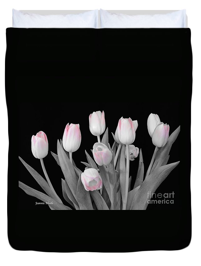 Holland Tulips In Black And White With Pink Duvet Cover featuring the photograph Holland Tulips In Black And White With Pink by Jeannie Rhode