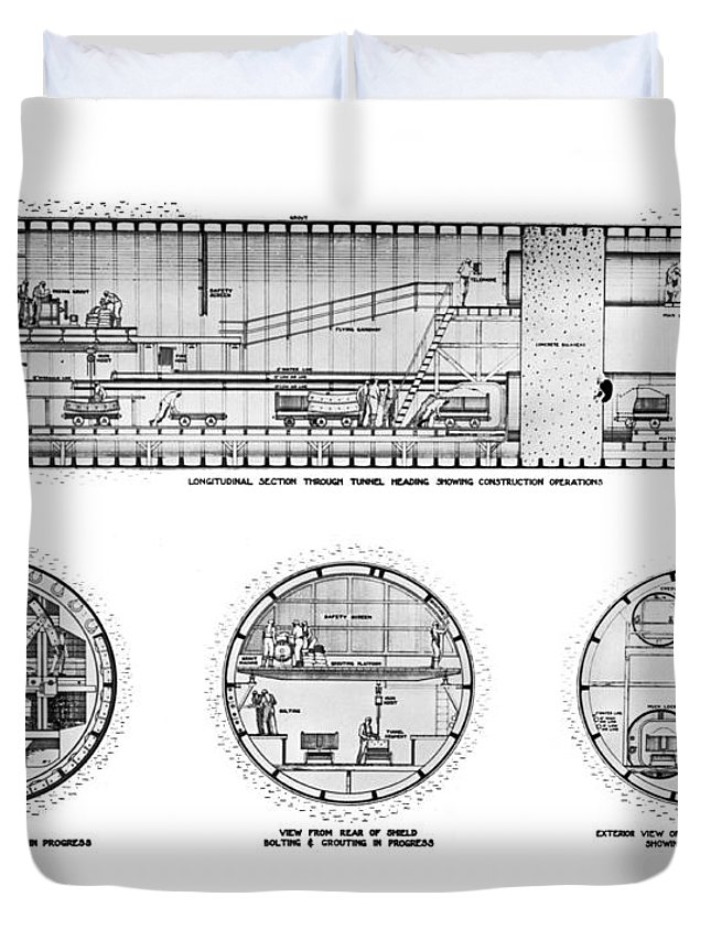 1921 Duvet Cover featuring the photograph Holland Tunnel Construction by Underwood Archives