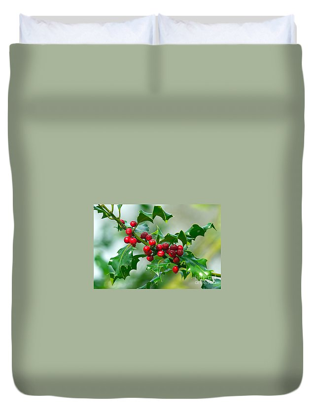 Holly Duvet Cover featuring the photograph Holly Berries by Sharon Talson