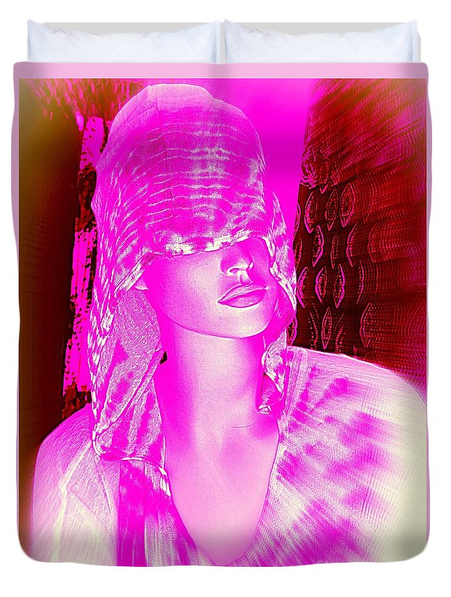 Pop Art Duvet Cover featuring the digital art Holly In Hood by Ed Weidman