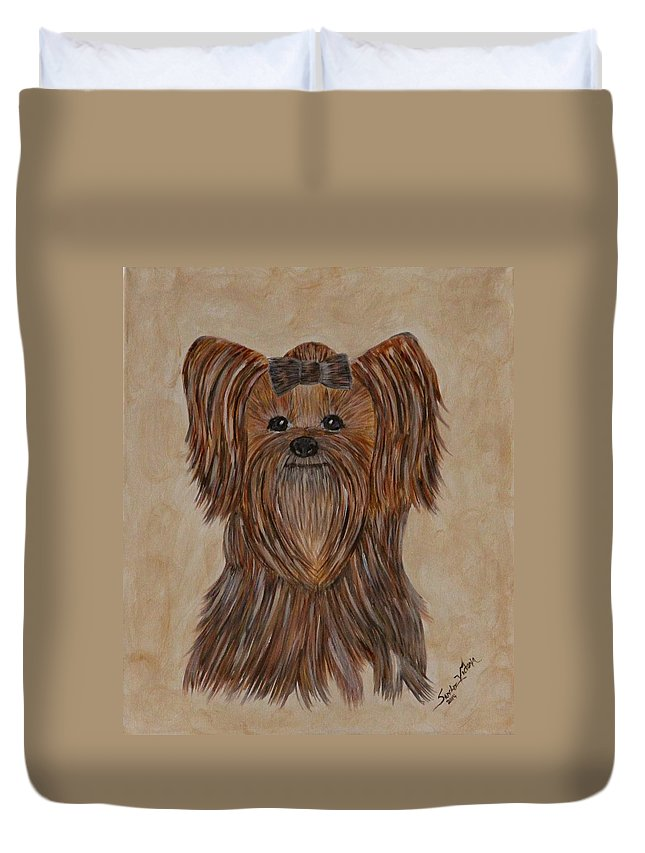 Dog Duvet Cover featuring the painting Holly by Victoria Sanchez