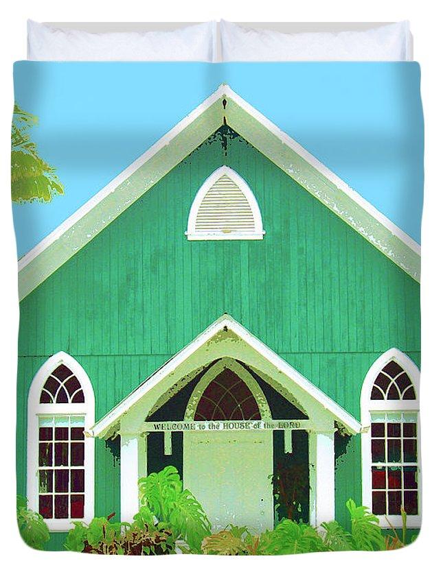 Hawaii Church Duvet Cover featuring the mixed media Holuoloa Church by Dominic Piperata
