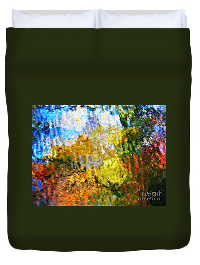 Water Reflection Duvet Cover featuring the photograph Holy Mountain by Chris Sotiriadis