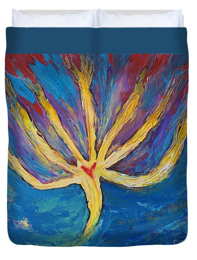 Art By Cassie Sears Duvet Cover featuring the painting Holy Spirit Which Dwells In You by Cassie Sears