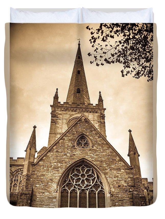 Church Duvet Cover featuring the photograph Holy Trinity Stratford On Avon Sepia by Douglas Barnett