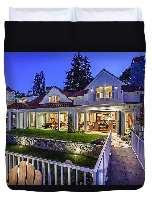 New Home Duvet Cover featuring the photograph Home At Night 1 by Mike Penney