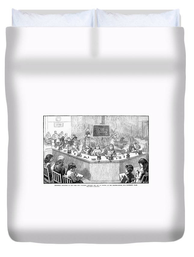 1886 Duvet Cover featuring the photograph Home Economics Class, 1886 by Granger