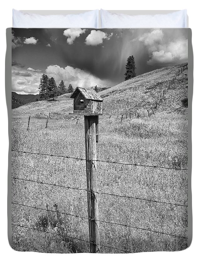 Black And White Photography Duvet Cover featuring the photograph Home Home On The Range by Allan Van Gasbeck