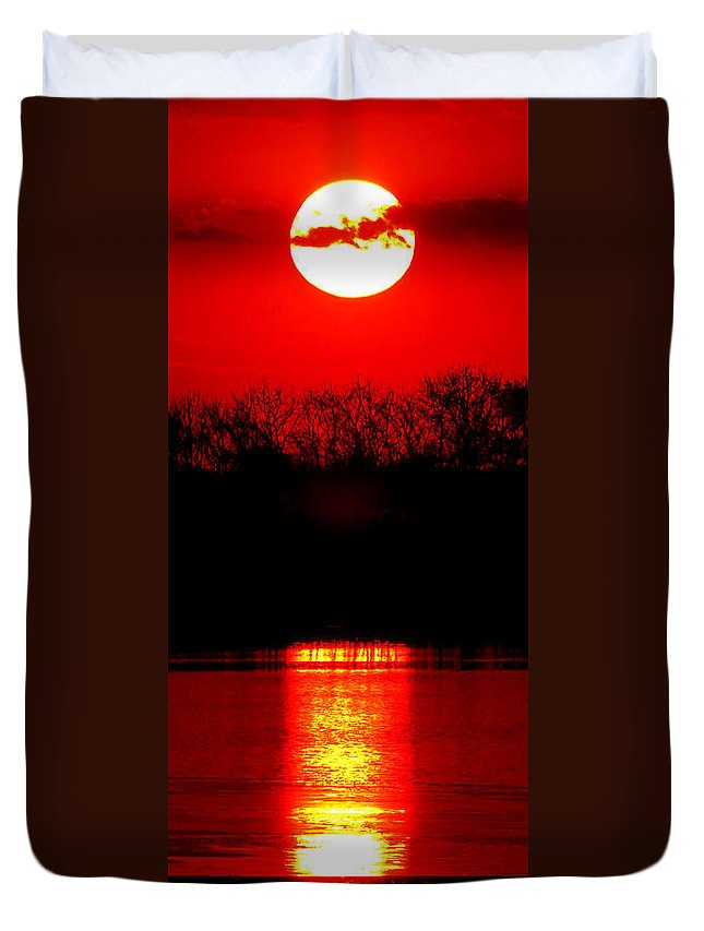 Sunset Duvet Cover featuring the photograph Home by Olivier Le Queinec