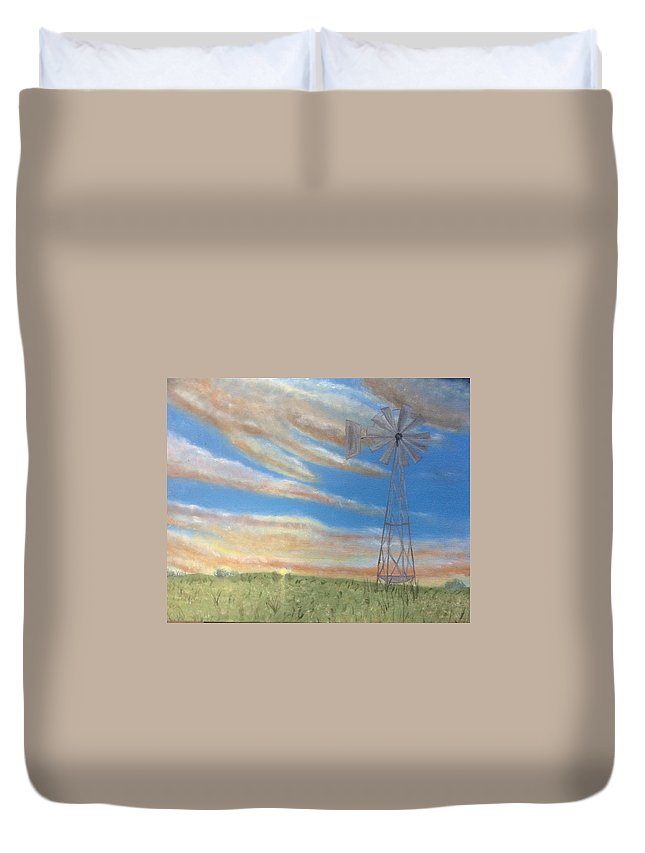Blue Sky Duvet Cover featuring the painting Home On The Range by Marcy Urban