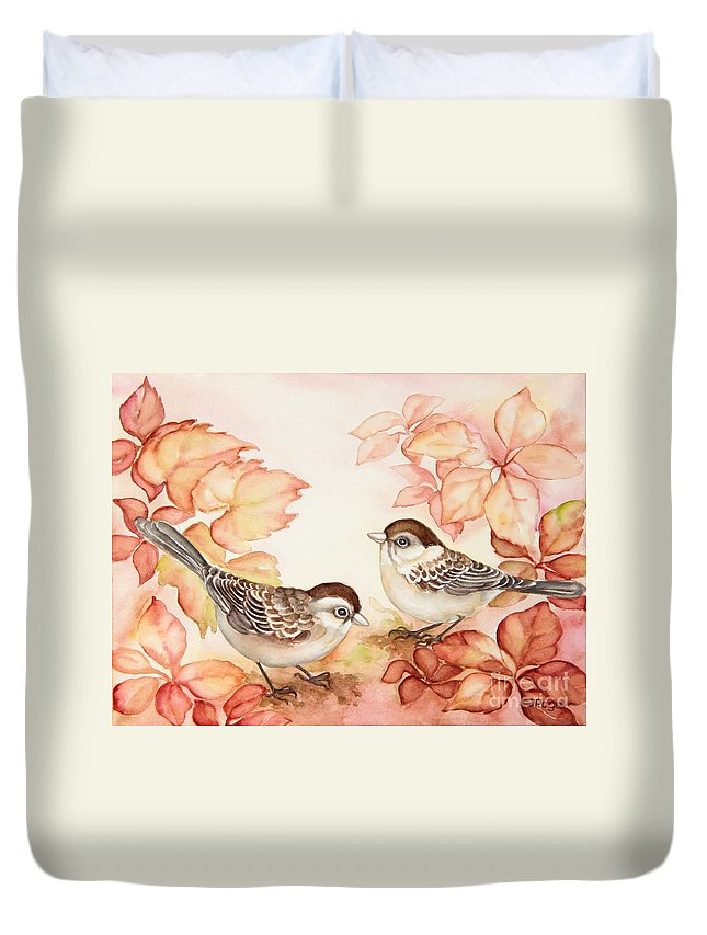 Bird Art Duvet Cover featuring the painting Home Sparrows by Inese Poga