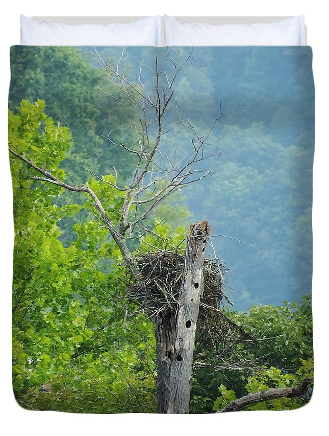 Eagles. Osprey Duvet Cover featuring the photograph Home Sweet Home Watts Bar Lake by Lizi Beard-Ward