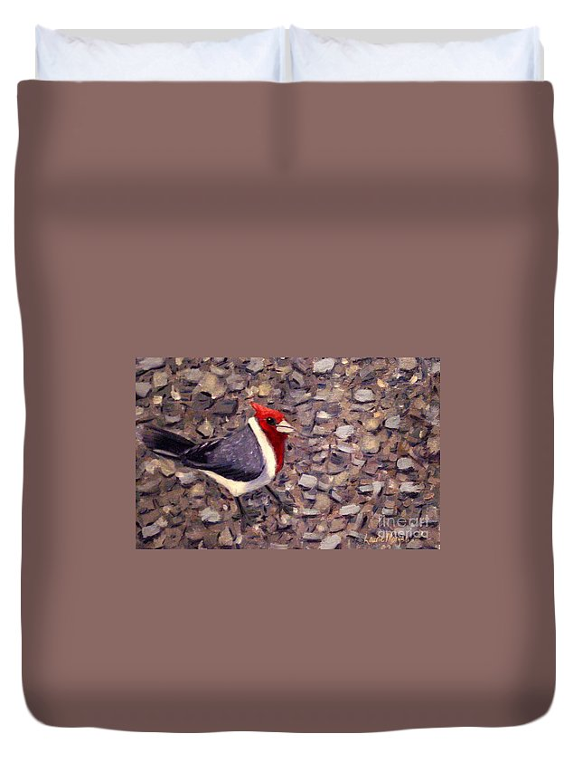 Bird Duvet Cover featuring the painting Home Turf by Laurie Morgan