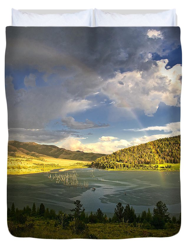Rainbow Duvet Cover featuring the photograph Homeground Rainbow Landscape by Timothy Flanigan