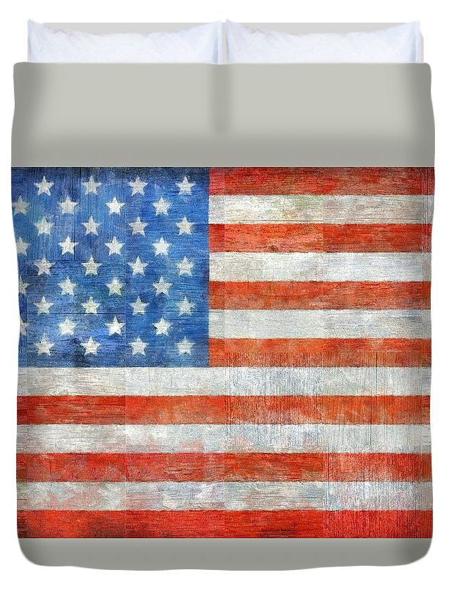 Flag Duvet Cover featuring the painting Homeland by Michelle Calkins