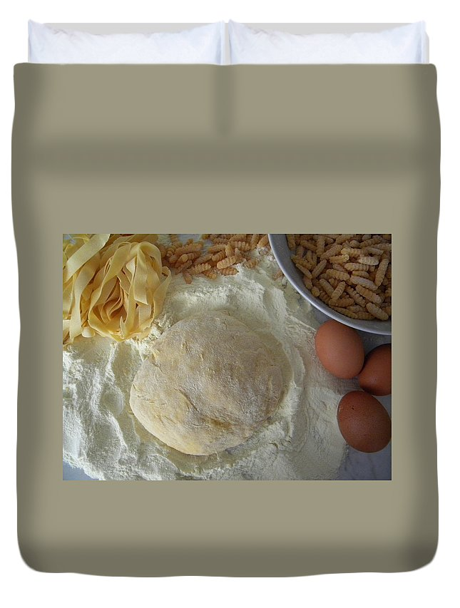 Pasta Duvet Cover featuring the photograph Homemade Pasta by Manuela Constantin