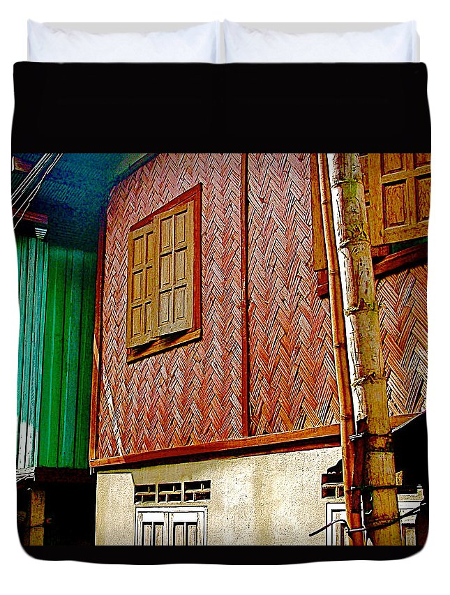 Homes On Stilts In Tachilek Duvet Cover featuring the photograph Homes On Stilts In Tachilek-burma by Ruth Hager