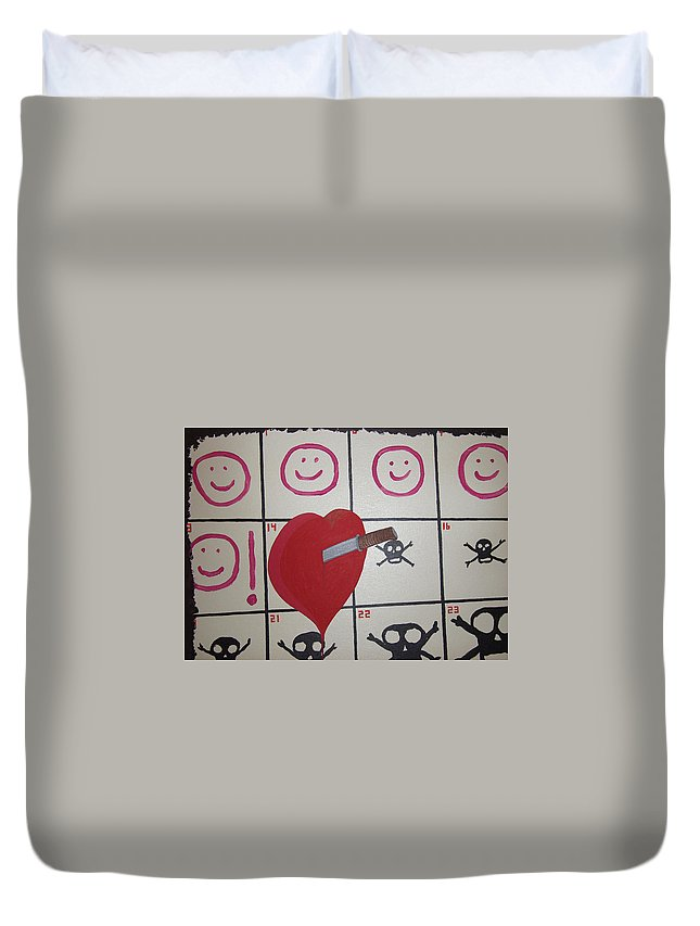 Edgy Duvet Cover featuring the painting Honeymoons Over by Dean Stephens
