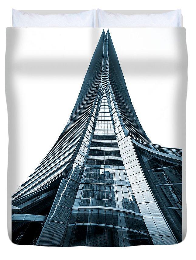 Hongkong Duvet Cover featuring the photograph Hong Kong Icc Skyscraper by Luciano Mortula