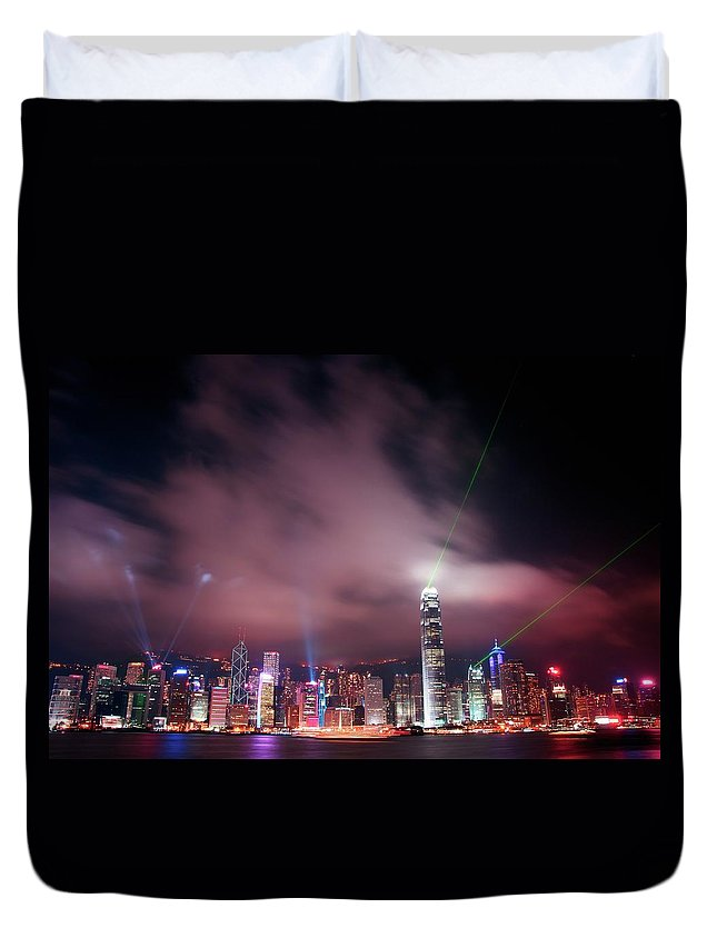 Tranquility Duvet Cover featuring the photograph Hong Kong Laser Lights by Photo By Dan Goldberger