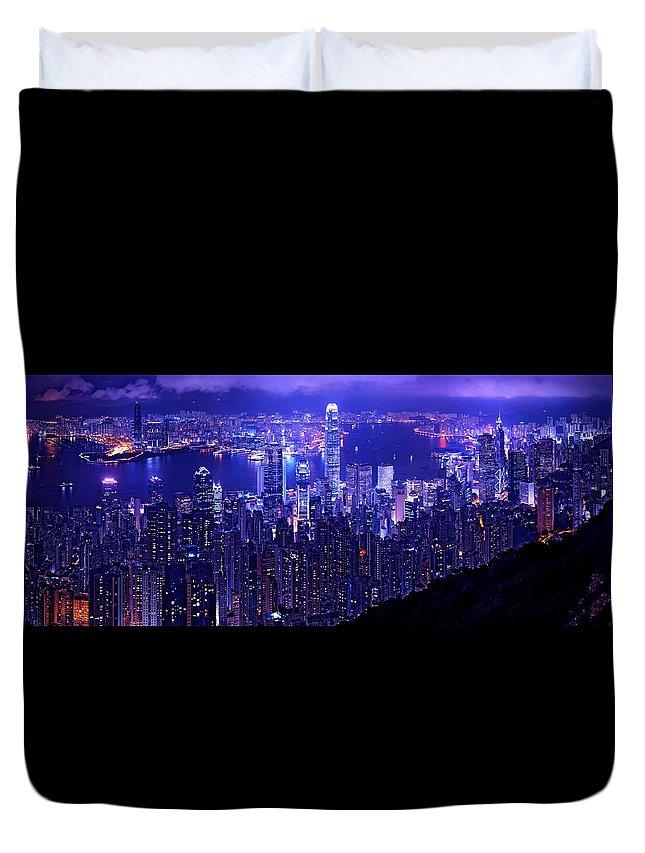 Hong Kong Prints Duvet Cover featuring the photograph Hong Kong In Purple by Monique's Fine Art