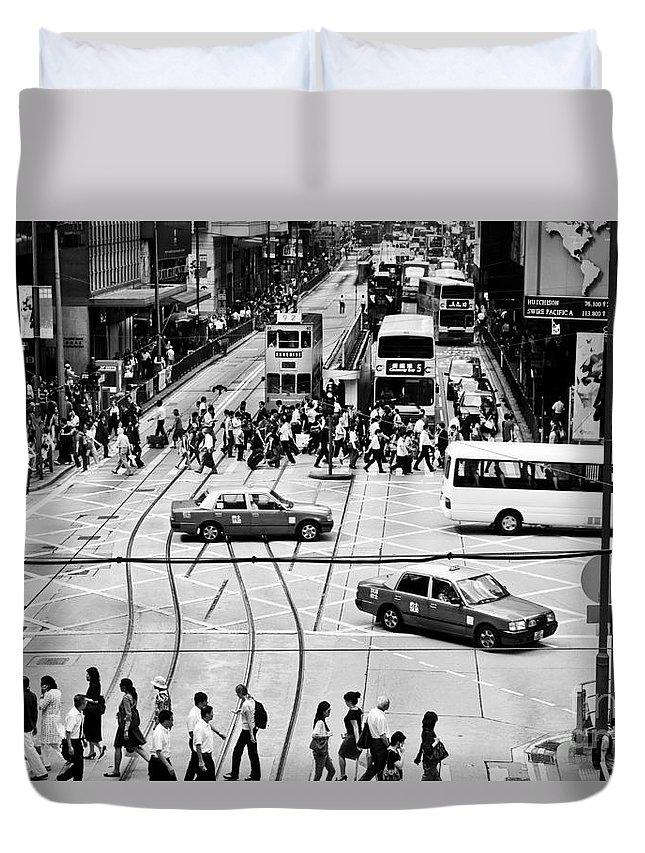 Hong Kong Duvet Cover featuring the photograph Hong Kong Street by Lana Enderle