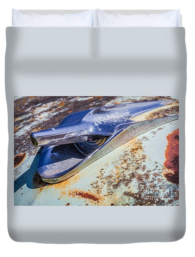 Abandoned Duvet Cover featuring the photograph Hood Ornament by Ashley M Conger