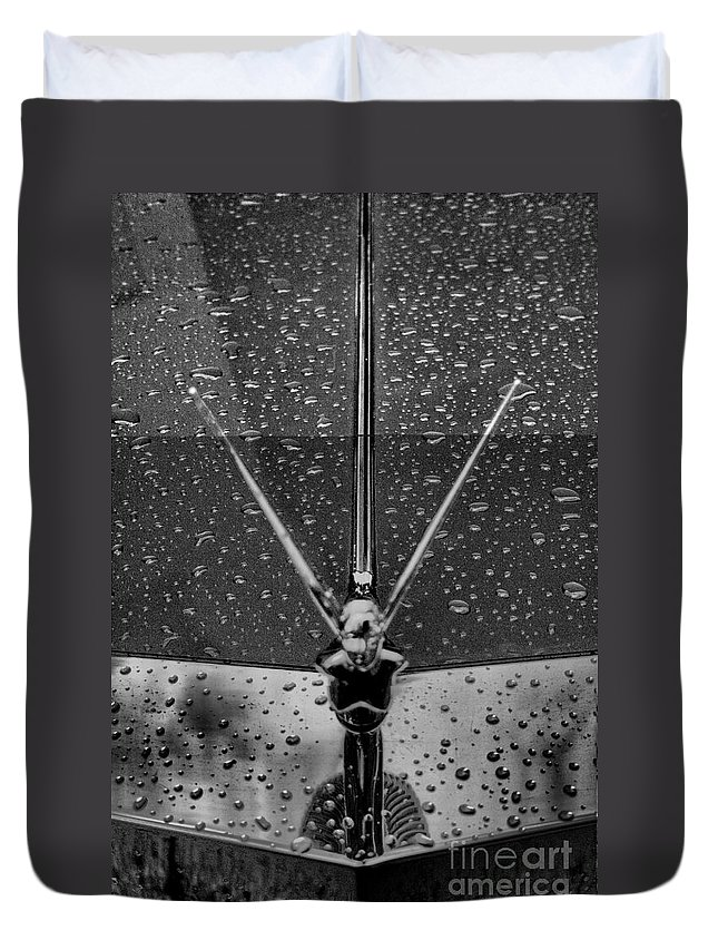 hood Ornament Duvet Cover featuring the photograph Hood Ornament In B And W by Crystal Nederman