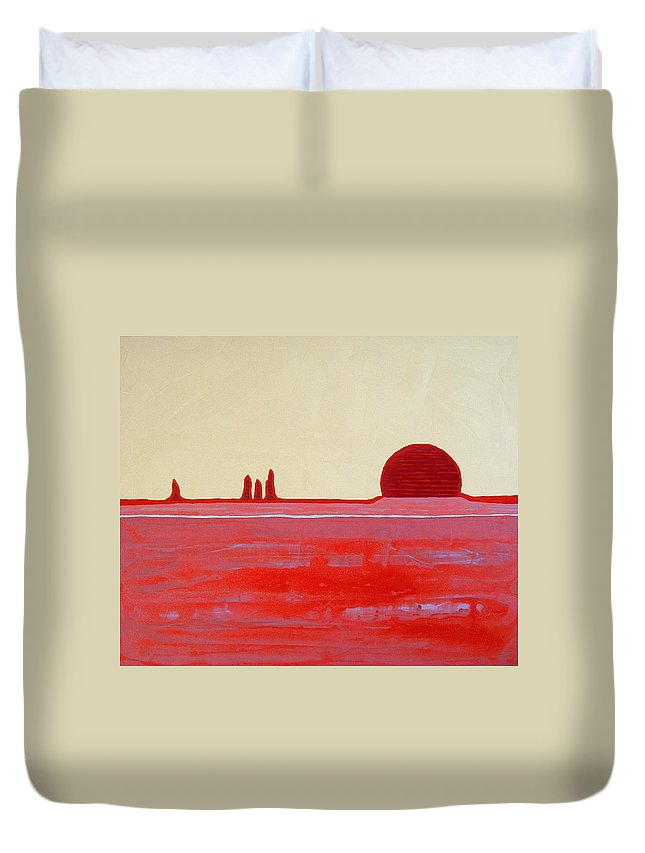 Painting Duvet Cover featuring the painting Hoodoo Sunrise Original Painting by Sol Luckman