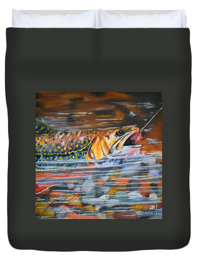 Fish Duvet Cover featuring the pastel Hook On Flies by John Huntsman
