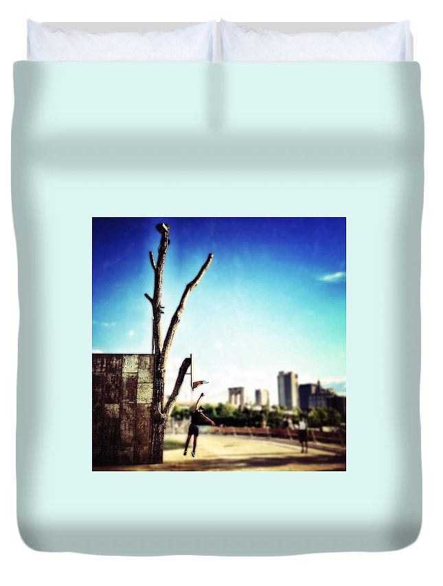 Basketball Duvet Cover featuring the photograph Hoopin' by Natasha Marco