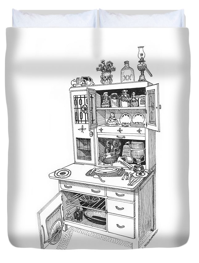 A Hoosier Cabinet (also Known As A hoosier) Is A Type Of Cupboard Popular In 1910- 1930s Duvet Cover featuring the drawing Hoosier Kitchen by Jack Pumphrey
