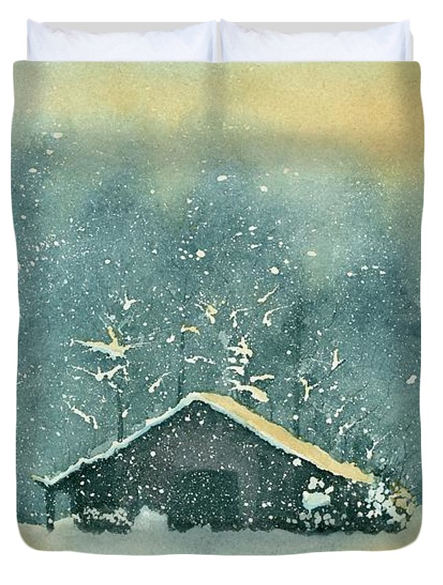 Watercolor Duvet Cover featuring the painting Hope Amidst The Storm by Brett Winn